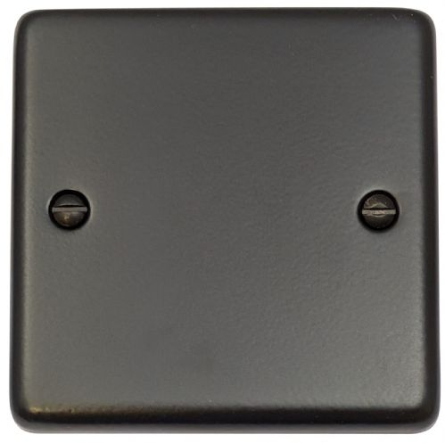 G&H CFB31 Standard Plate Matt Black 1 Gang Single Blank Plate